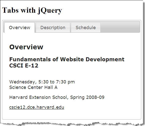 Slide 24 § Tabs with jQuery § Function: Javascript, Part 1